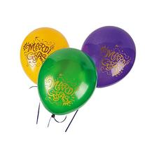 "Mardi Gras Balloons  11"". Latex"