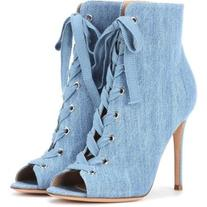 Gianvito Rossi Marie Denim Peep-Toe Ankle Boots