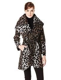T Tahari Women's Marla Wool Wrap Coat Leopard, Leopard,