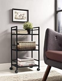 Altra Marshall 3 Shelf Metal Rolling Utility Cart, Black