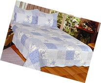 J&J Bedding Mary Reversible Quilt, Full/Queen, Blue