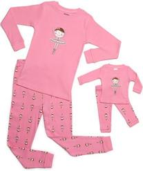 "Leveret ""Ballerina"" Matching Kid & Doll 2 Piece Pajama 100%"