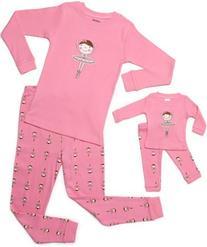 Leveret Ballerina Matching Doll & Girl 2 Piece Pajama Set