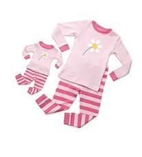 Leveret Matching Doll & Kid Flower 2 Piece Pajama 8 Year