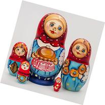 Matryoshka 5pcs Girl with Bread New Beautiful Blue Wooden
