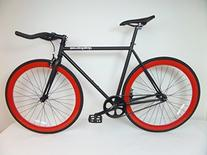 Matte Black and Red Fixie with Bullhorns Single Speed Fixie