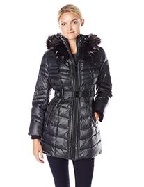 Kensie Women's Belted Down Coat with Multi Color Faux Fur