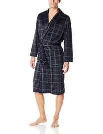 Jockey Men's Matte Silky Fleece Robe, Navy/Green Plaid, One