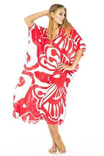 Maxi Caftan Poncho Butterfly Red