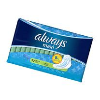Always Maxi Pads Long Super With Wings Unscented 32 CT