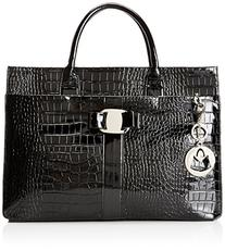 MG Collection Maxx High Gloss Crocodile Shoulder Bag, Black