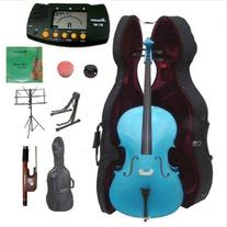 Merano 4/4 Size Blue Cello with Hard Case, Bag and Bow+2
