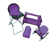 Mommy & Me 3 in 1 Doll Play Set PURPLE , 1 Doll Pack N Play