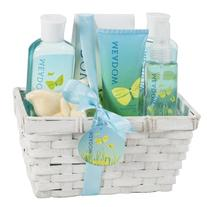Meadow Bath Gift Set in Wicker White Basket, Shower Gel,