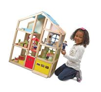 Melissa & Doug Hi-Rise Wooden Dollhouse With 15 pcs