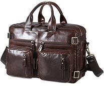 Polare Men's Business Briefcase Oil Genuine Leather