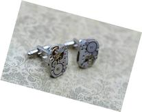 Men Steampunk Cufflinks - Luxury Handmade Silver Vintage
