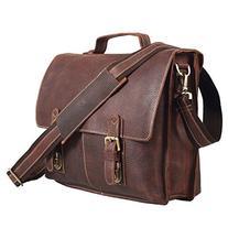 Polare Men's Real Leather Professional Messenger Bag Laptop
