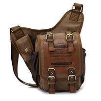 Mens Boys Vintage Canvas Shoulder Military Messenger Bag