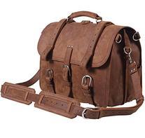 Polare Men's Top Quality Full Grain Leather Briefcase /
