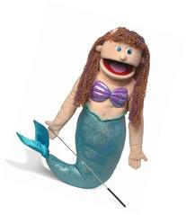 "25"" Mermaid, Peach Girl, Full Body, Ventriloquist Style"