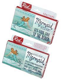 Mermaid Wisdom Ocean Sea Set of 4 Sandstone Coasters