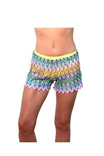 Blue Sky Swimwear Multicolor Mesh Beach Short with Cut Out