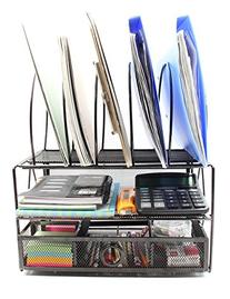 EasyPAG Mesh Desk File Organizer Tray with 5 File Sorter