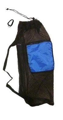 Mesh Drawstring Snorkel Bag with Blue Zip Pocket
