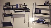 Metal desk with bookcase