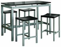 Coaster 5-Piece Metal Dining Set with 4 Barstools, Silver/