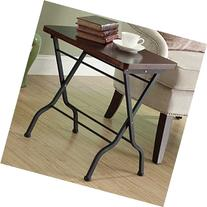 Monarch Specialties Metal Folding Accent Table, Cherry/