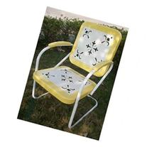 Metal Retro Chair in Yellow and White