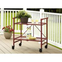 Cosco Metal Slat Folding Serving Cart, Ruby Red