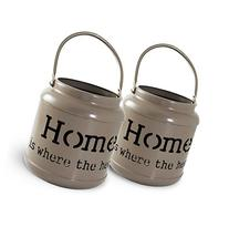 "Janazala Set of 2 Metal Romantic Candle Holders ""Home Is"