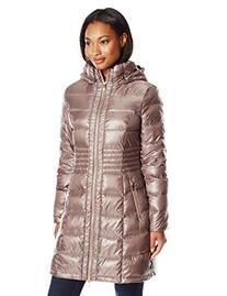 Via Spiga Women's Metallic Packable Down with Hood, Desert,