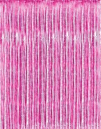 Metallic Pink Foil Fringe Curtains  by Kangaroo; Baby Shower