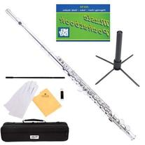 Mendini Nickel Silver Closed Hole C Flute with Stand, 1 Year