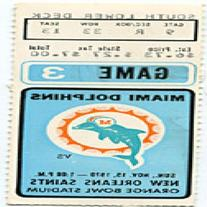 Miami Dolphins 1970 Game 3 Ticket