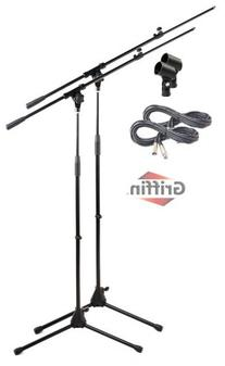 Tripod Microphone Boom Stand with XLR Mic Cable & Clip  by