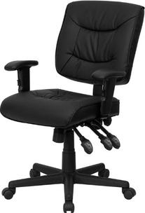 Mid-Back Black Leather Multi-Functional Task Chair with