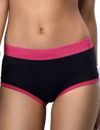 Yvette Women Mid-Rise Sports Boyshort Panties #6040, Black/