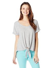 Roxy Junior's Middle Ranch Tie-Front Short Sleeve Tee,