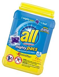 Mighty Pacs Laundry Detergent, Stainlifter, Tub, 72 Count