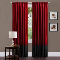 Milione Fiori Red/Black Window Curtains, Pair