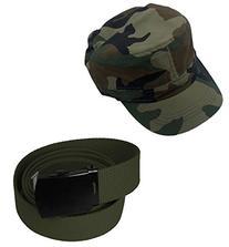 Enimay Military Hat and Canvas Belt Bundle Black Buckle Camo