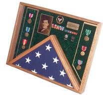 Military Veteran Soldier Flag & Medal Display Case Shadow