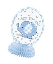 "6"" Mini Blue Elephant Boy Baby Shower Decorations, 4ct"