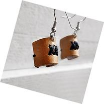 Mini Book Leather and Stainless Steel Earrings