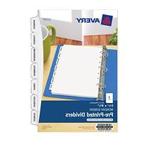 Avery Mini Preprinted Dividers, 5.5 x 8.5 Inches, Monday-